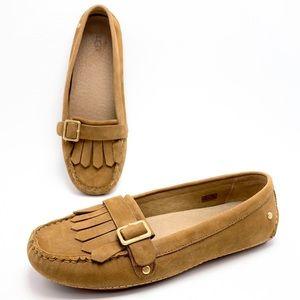 UGG 7 Tan Nubuck Fringe Buckle Moccasin Loafers
